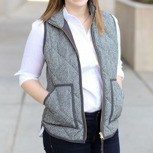 J. Crew Factory Excursion Down Vest Herringbone